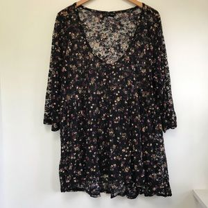 Torrid floral lace sheer button up blouse 3X
